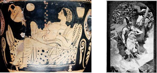 Links:Danaë im Turm empfängt den Goldregen des Zeus, Rechts: Odin sticht Brunhilde mit der Dornrose